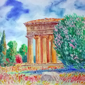 """Ancient Greek Temple in Paestum"" Painting by Sergey Dronov"
