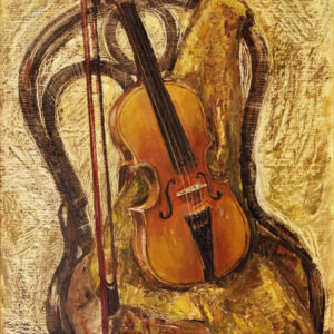 Art, Violin on a Viennese chair, Original Painting