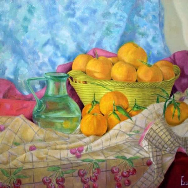 Basket full of mandarins by Ercole Ercoli Original Painting