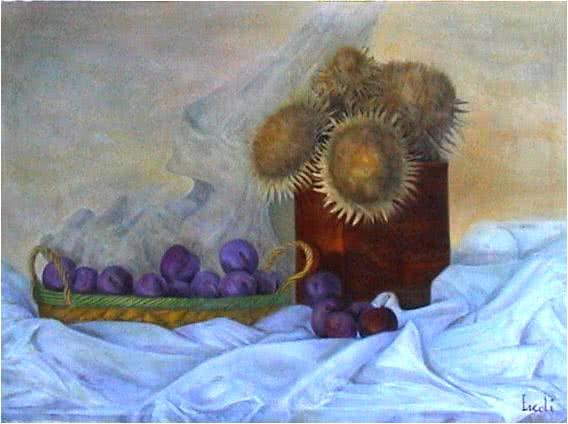 """Basket of Plums"" Original Painting"