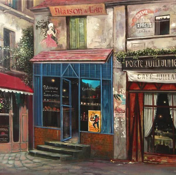"""Cafe Juiliame"" by Samson Gabriel, Original Oil Painting"