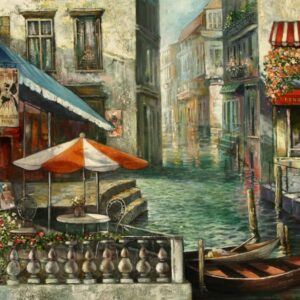 """Cafe on the Water"" Original Oil Painting"