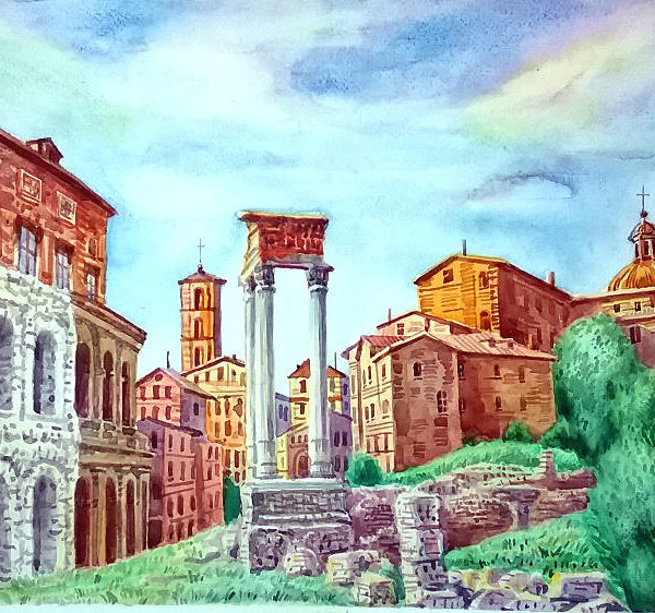 Marcello Theater in Rome Painting by Sergey Dronov