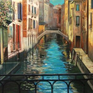 """Venice Bridge"" by Samson Gabriel, Original Oil on Canvas"