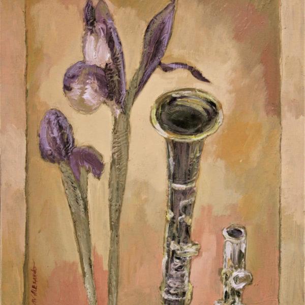 Painting of Flowers Irises, Original Artwork