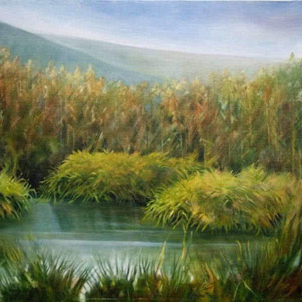 Pond by the Mountains by Ercole Ercoli Original Painting