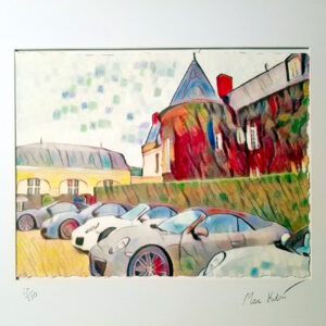 Porsche cars fleet art in watercolor