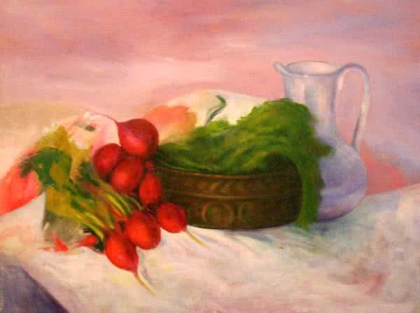 """""""Radish Basket"""" by Ercole Ercoli Original Painting"""